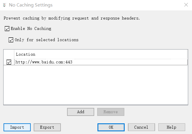No Caching Settings